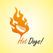 Fire hot dog art — Stock Vector