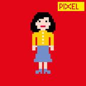 Dibujos animados de mujer pixel — Vector de stock