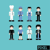 Pixel art people set — Stock Vector