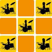 Various drummer silhouette — Stock Vector