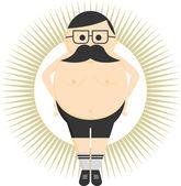 Fat big mustache guy — Stock Vector