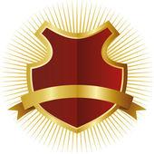 Red shield in golden frame — Stock Vector