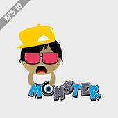 Funky monster in hat — Stockvector