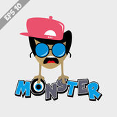 Funky monster in hat — 图库矢量图片