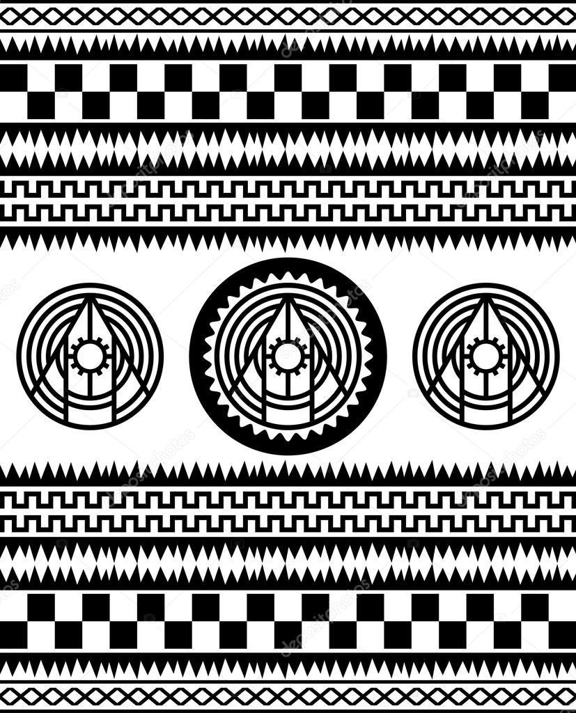 native american patterns black and white