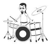 Drummer art cartoon — Stock Vector