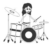 Drummer art cartoon — Vector de stock