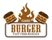 Label with burger — Stock Vector