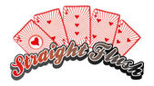 Poker card straight flush — Stock Vector