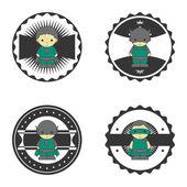 Hero boy retro badge — Stock Vector