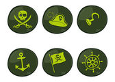 Green pirate icon set — Vector de stock