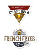 French fries and draft beer label — Stockvector