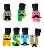 Alphabet mustache guy — Stock Vector