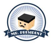 Mustache president cartoon — Vector de stock