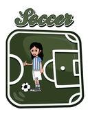 Soccer button art argentina — Stock Vector