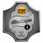 Burger label — Stock Vector