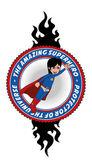 Superhero fire label — Stock Vector