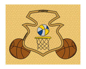 Basketball heraldry cartoon — Stock Vector