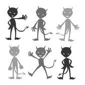 Evil devil silhouette set — Stock Vector