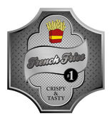 Silver french fries label — Vettoriale Stock