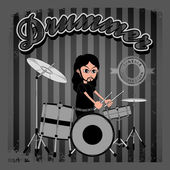 Baterista de la banda de música — Vector de stock