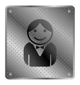Guy metal plate — Stock Vector