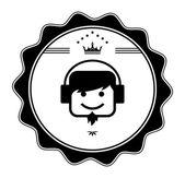 Guy headphone label — Stock Vector