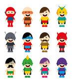 Amazing cartoon superhero set — Stock Vector