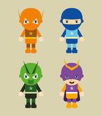 Amazing cartoon mask superhero set — Stock Vector