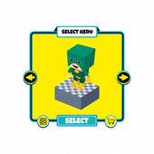 Game block character — Wektor stockowy