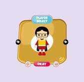 Hero player select menu — Stock Vector