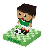 Mexico soccer block character — Stock Vector