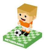Netherlands soccer block character — Stok Vektör