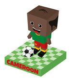 Cameroon soccer block character — Stock Vector