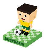 Australia  soccer block character — Stock Vector