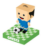 Greece soccer block character — Vector de stock