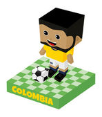 Colombia soccer block character — Stock Vector