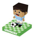 Uruguay soccer block character — Stock Vector