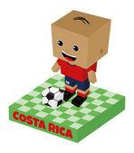 Costa rica soccer block character — Stock Vector