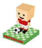 Switzerland soccer block character — Stock Vector