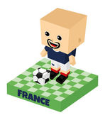 France soccer block character — Vector de stock