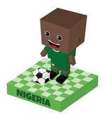 Nigeria soccer block character — Stock Vector