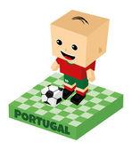 Portugal soccer block character — Stok Vektör