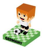 Germany soccer block character — Vector de stock