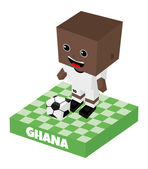 Ghana soccer block character — Stock Vector
