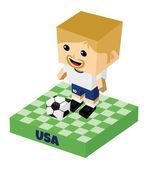 America soccer block character — Stock Vector