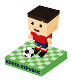 Korea republic soccer block character — Vector de stock