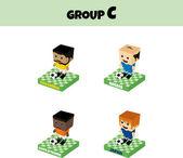 Futbol Şampiyonası Kupası karakter — Stok Vektör