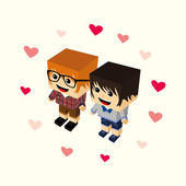 Love couple cartoon — ストックベクタ
