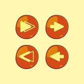 Orange button icon set — Stock Vector